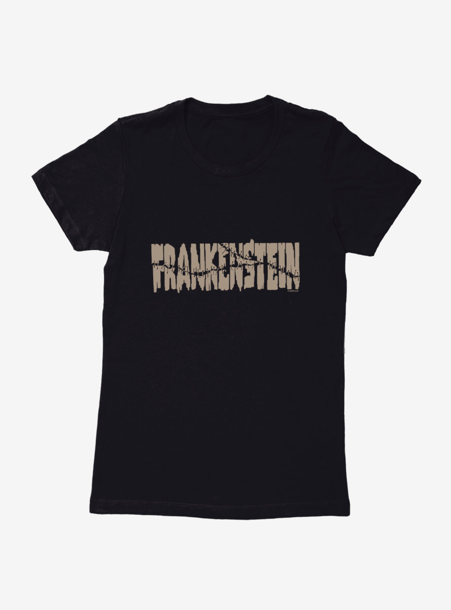 Universal Monsters Frankenstein Font Stitches Womens T-Shirt
