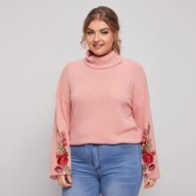 Plus Drop Shoulder Floral Appliques Sweatshirt