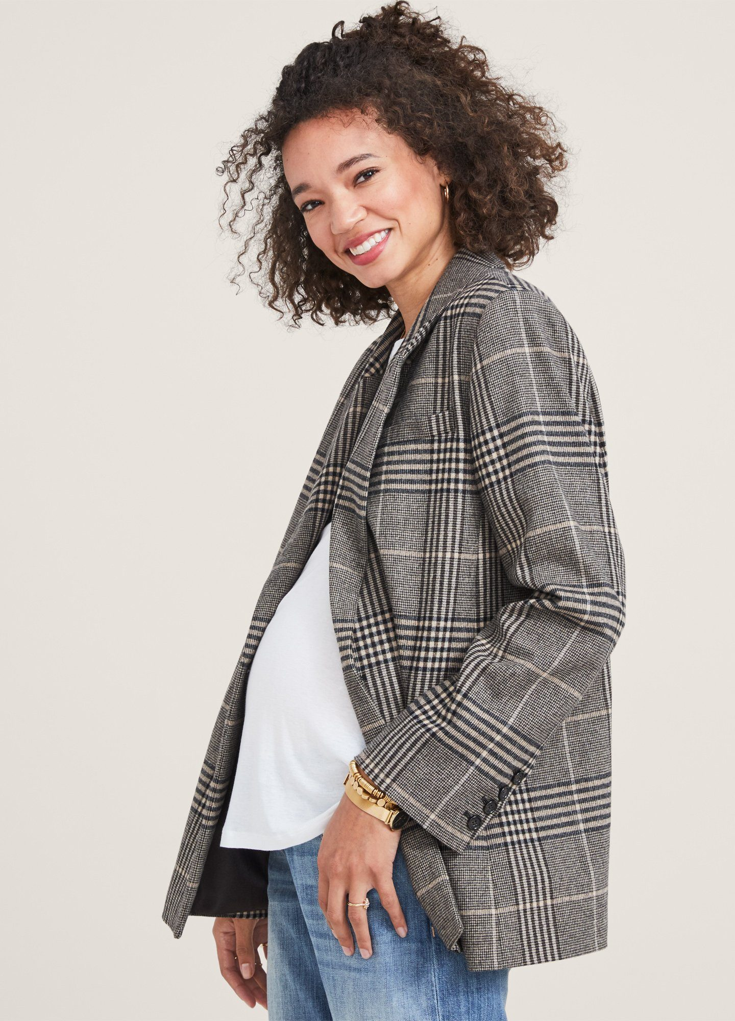 HATCH Maternity The Jane Blazer, camel Plaid, Size 2