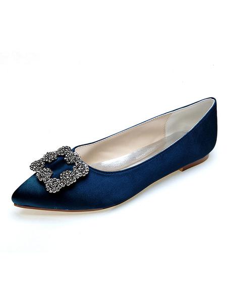Milanoo Zapatos de novia de saten Morado Zapatos de Fiesta Zapatos Plana de puntera puntiaguada Zapatos de boda con pedreria