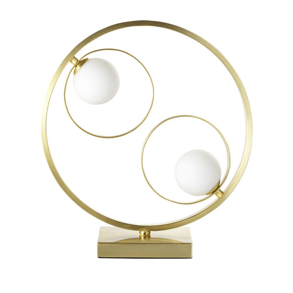 Lampe mit 2 Kugelschirmen aus Opalglas mit Ring aus goldfarbenem Metall