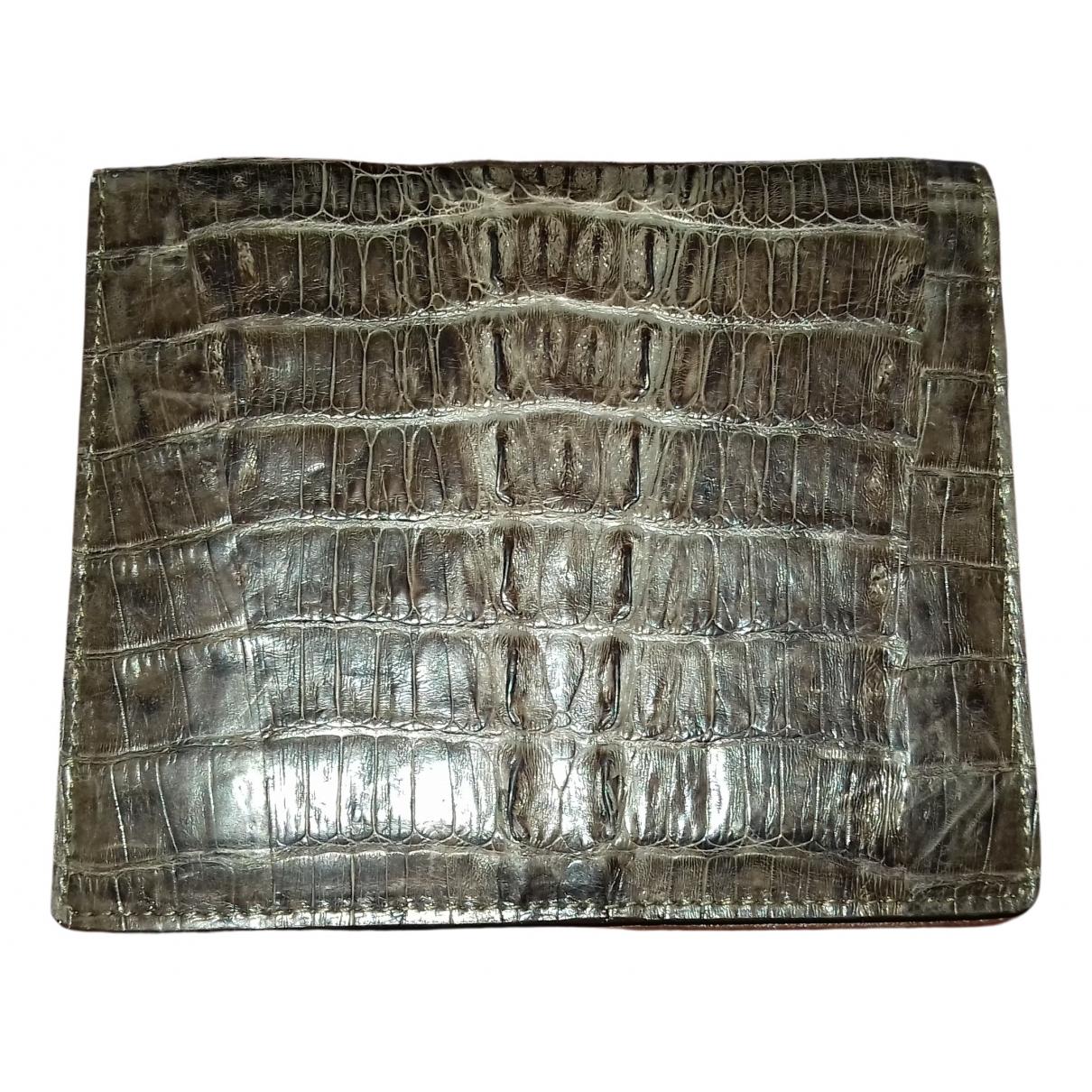 - Portefeuille   pour femme en crocodile - marron