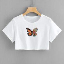 Crop T-Shirt mit Schmetterling Muster und Applikation