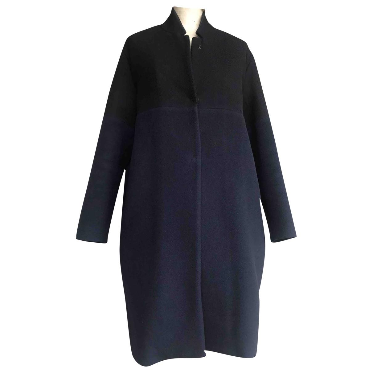 Forte_forte - Manteau   pour femme en laine - bleu