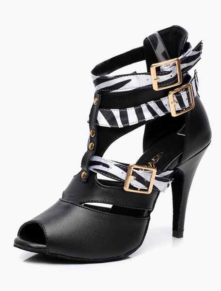 Milanoo Black Buckled Gladiator Ballroom Shoes