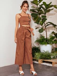 Button Detail Crop Top and Buckle Belted Palazzo Pants Set