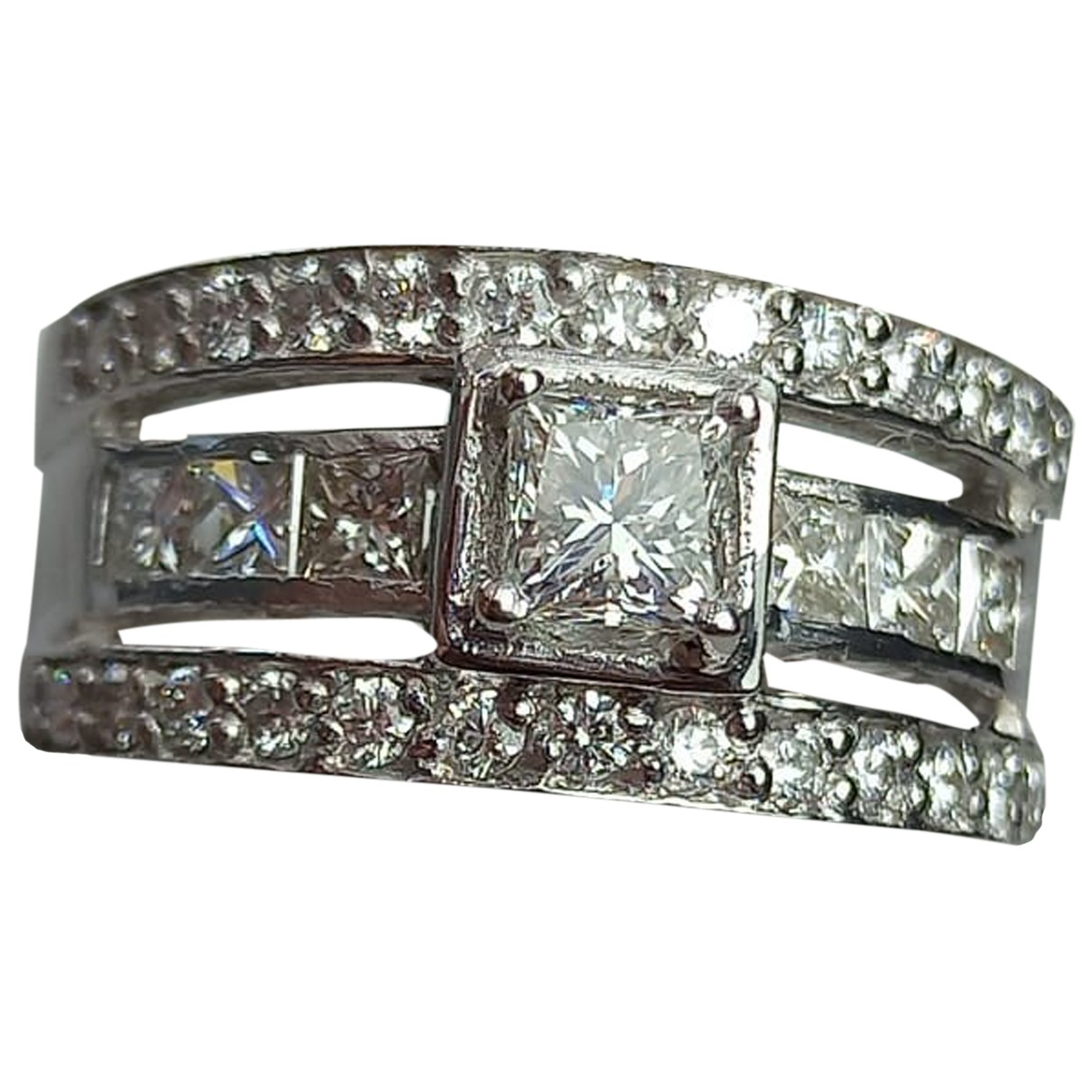 Non Signé / Unsigned Solitaire White White gold ring for Women 53 MM
