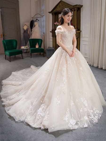 Milanoo Princess Ball Gown Wedding Dresses Lace Embroidered Off Shoulder Royal Bridal Dress With Train