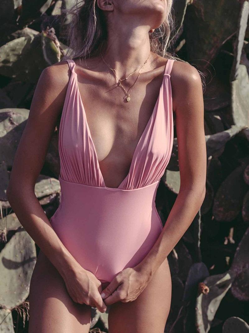 Ericdress One Piece V-Neck Pleated Sexy Swimwear