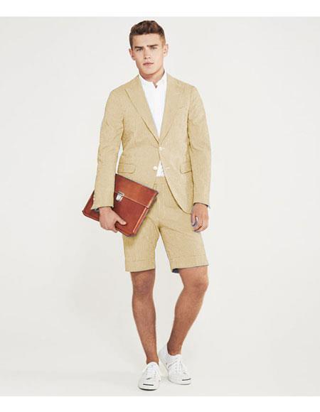 men's summer business suits with shorts pants set (sport coat) Ivory