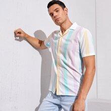 Weiss Knopfen vorn Gestreift Preppy Maenner Hemden