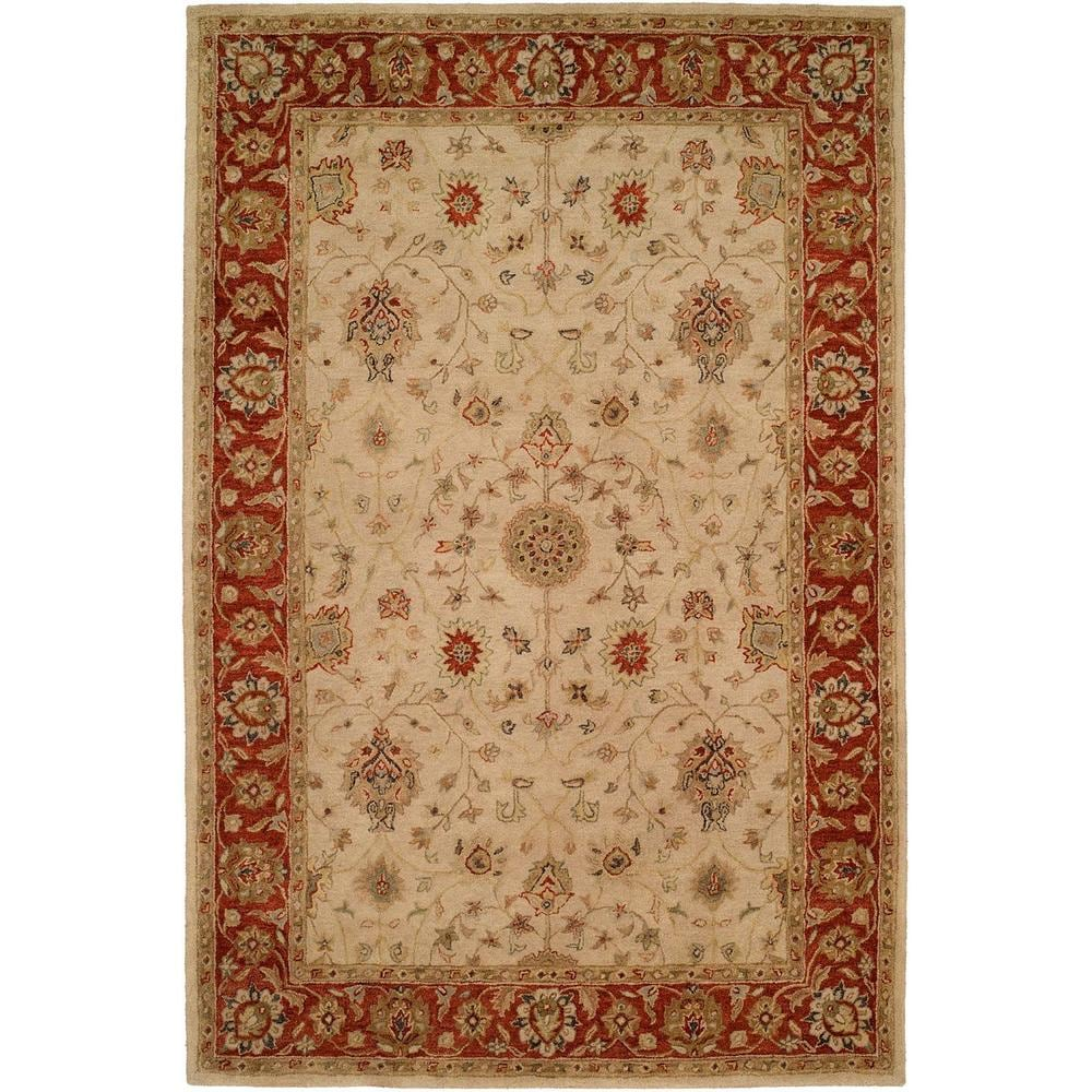 Empire Ivory and Rust Hand-tufted Area Rug (Ivory/Rust 9'6