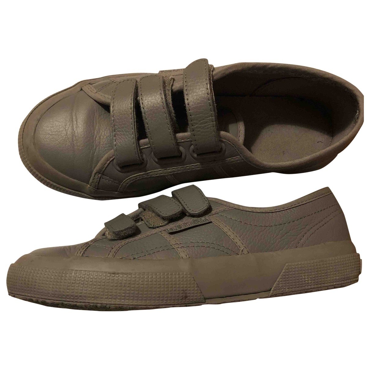 Superga \N Grey Leather Trainers for Women 37 EU
