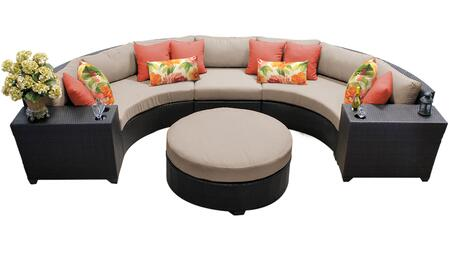 Barbados BARBADOS-06c 6-Piece Wicker Patio Set 06c with 3PC Curved Sectional  2 Cup Tables and Round Coffee Table - 1 Wheat