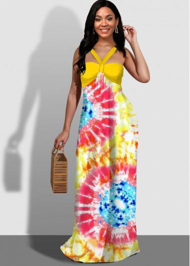Cocktail Party Dress Tie Dye Print Spaghetti Strap Maxi Dress - M