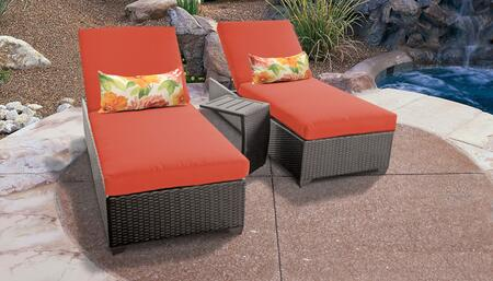 Belle Collection BELLE-2x-ST-TANGERINE Patio Set with 2 Chaises   1 Side Table - Wheat and Tangerine