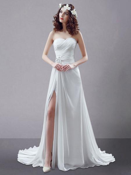 Milanoo Blanco vestido de novia de chifon con escote en corazon y pedreria