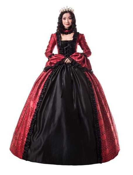 Milanoo Victorian Dress Costume Women's Ture Red Trim Ruffle Floral Print Victorian Era Style Set Matte Satin Ball with Choker Vintage Clothing Hallow