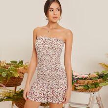 Layered Ruffle Hem Ditsy Floral Print Shirred Tube Dress