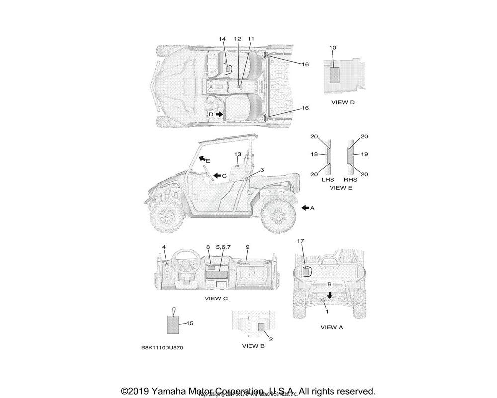 Yamaha OEM 1XD-F8446-00-00 LABEL, CAUTION   ENGLISH
