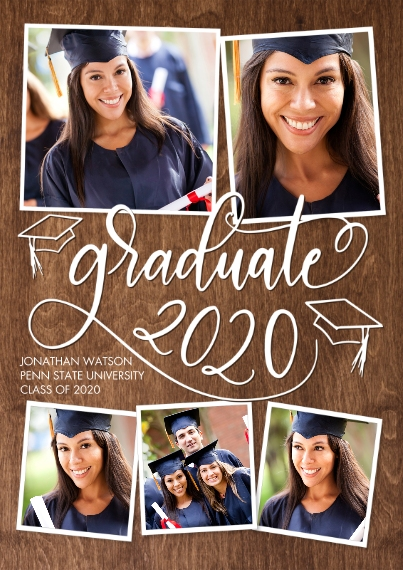 2020 Graduation Announcements 5x7 Cards, Premium Cardstock 120lb with Scalloped Corners, Card & Stationery -Graduate 2020 Swirl Memories by Tumbalina