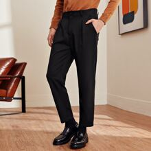 Men Fold Pleated Front Tailored Pants