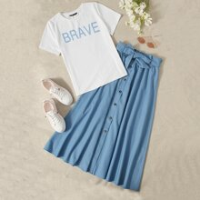 Letter Graphic Top & Tie Waist Buttoned Front Skirt Set