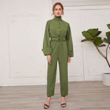 High Neck Buttoned Front D-ring Belted Cuffed Jumpsuit