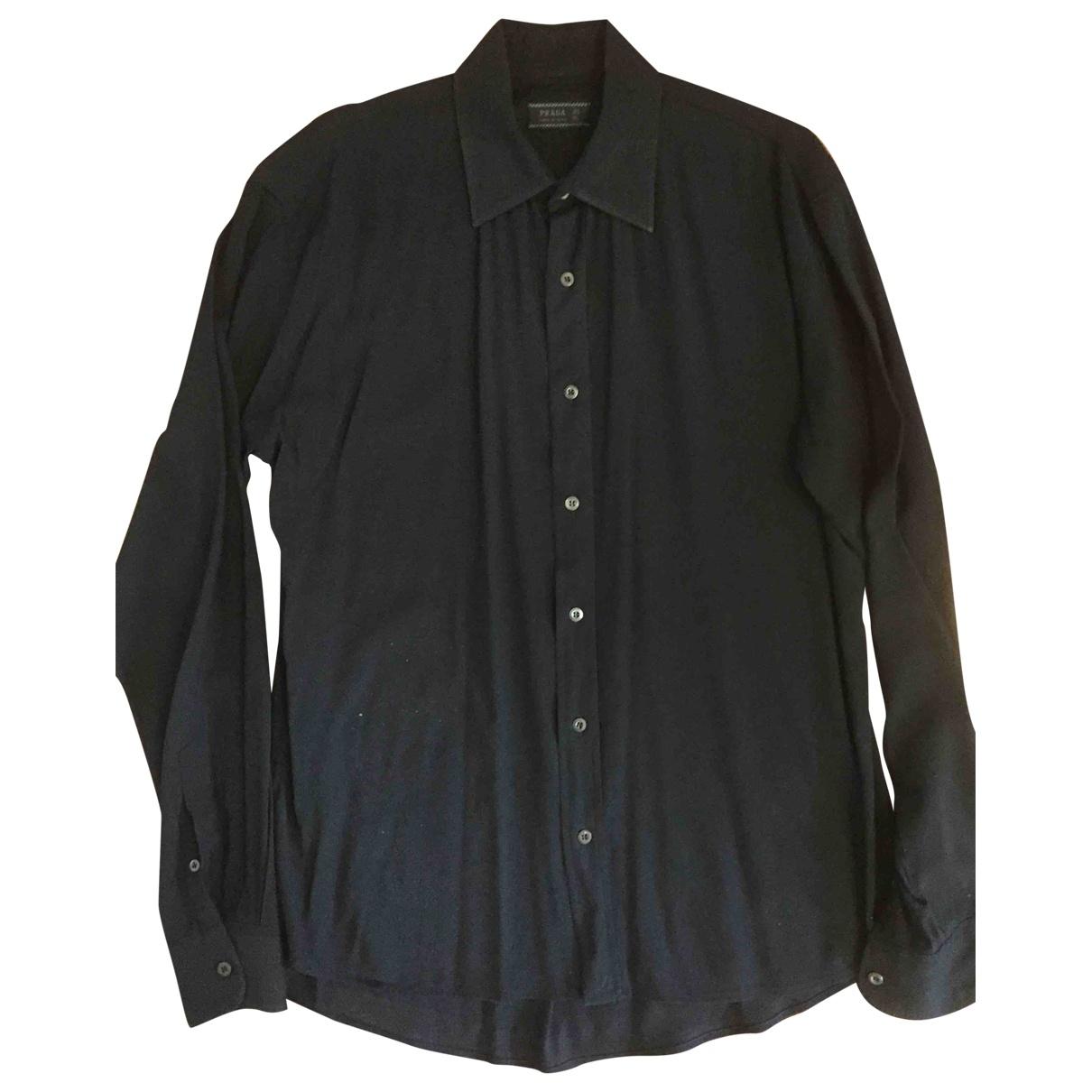 Prada \N Blue Cotton Shirts for Men 40 EU (tour de cou / collar)