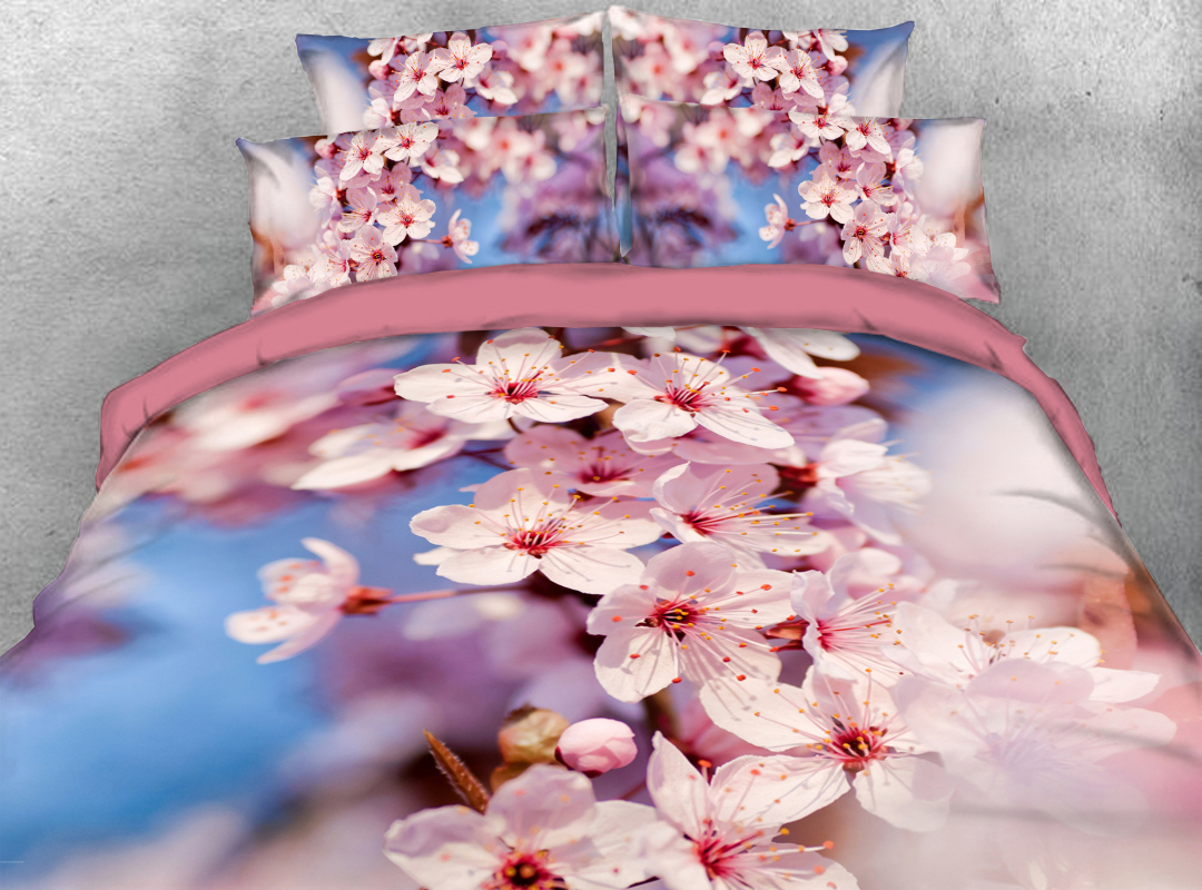 Pink Peach Blossom Zipper Colorfast Hard-wearing Duvet Cover 4-Piece Soft Spring Floral Bedding Sets with Corner Ties