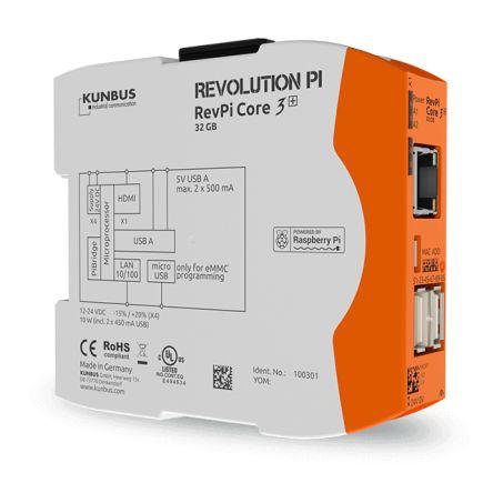 Kunbus RevPi Core 3+, Industrial Computer, 10W, 1.2 GHz Quad-Core, BCM2837 1.2 GHz, 1 GB (RAM), 32 GB (Flash), 4 Linux