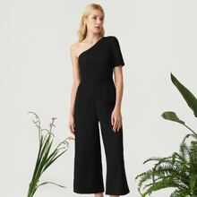One Shoulder Solid Palazzo Jumpsuit