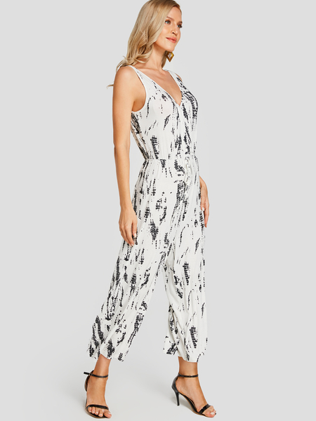 Yoins White Backless Design Tie-Dye Sleeveless Loose Waist Jumpsuit