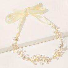 Faux Pearl Decor Bow Knot Headband