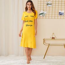 Eyelash & Slogan Graphic Night Dress