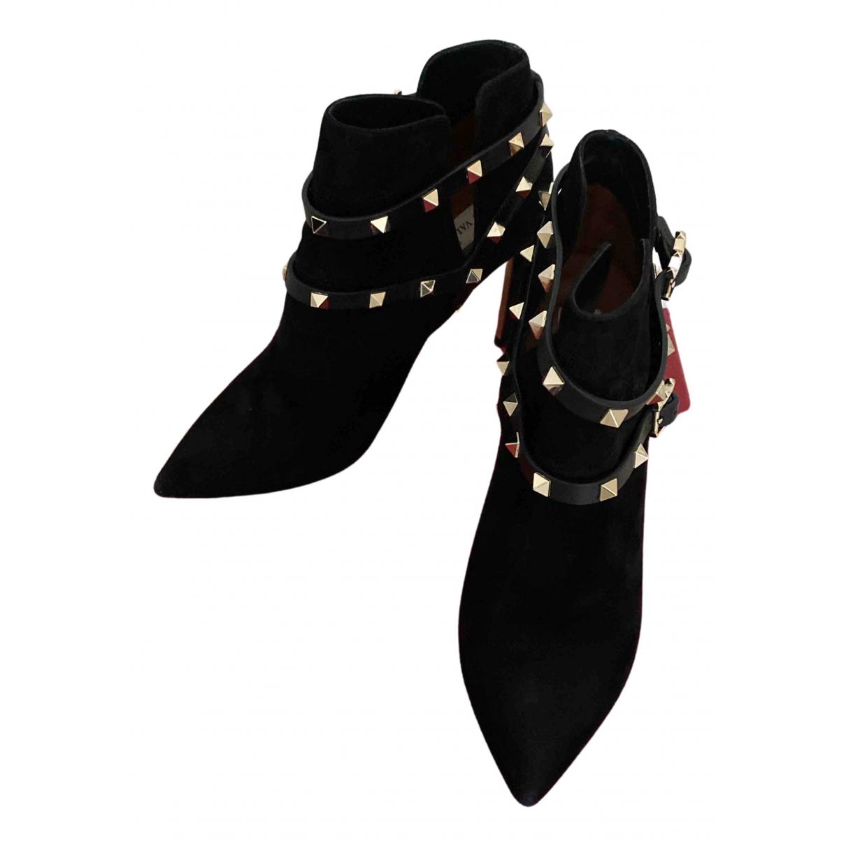 Valentino Garavani Rockstud Black Suede Ankle boots for Women 5.5 UK