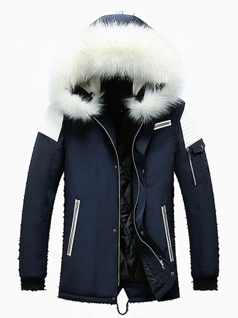 Ericdress Mid-Length Hooded Patchwork Casual Zipper Mens Down Jacket