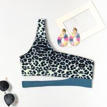 Leopard One Shoulder Bikini Top