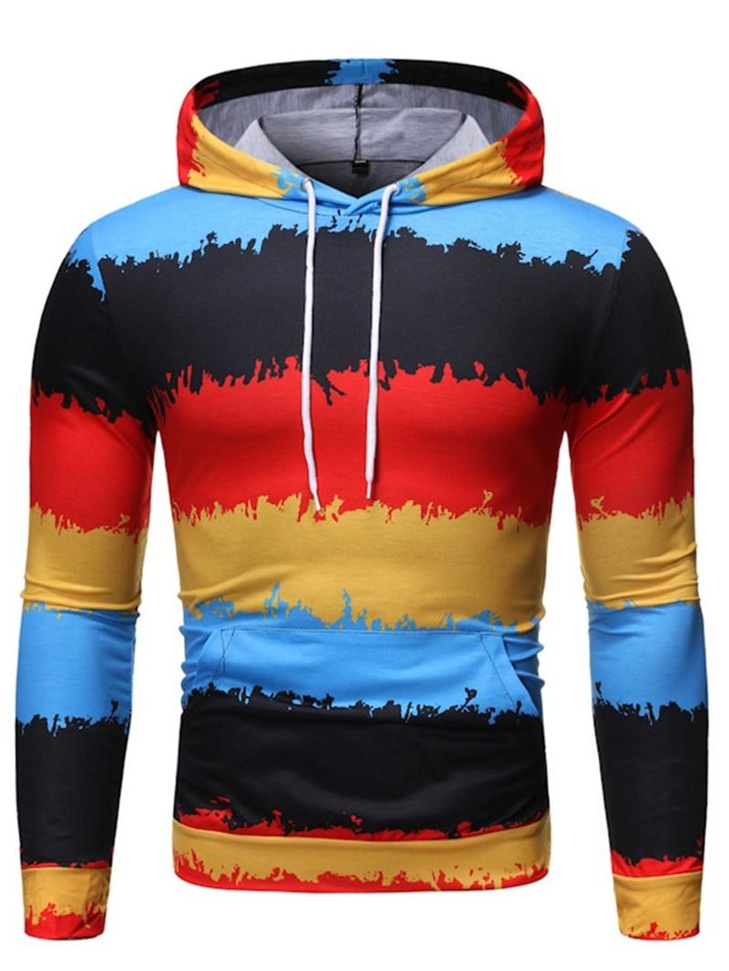 Ericdress Pocket Color Block Hooded Pullover Men's Hoodies