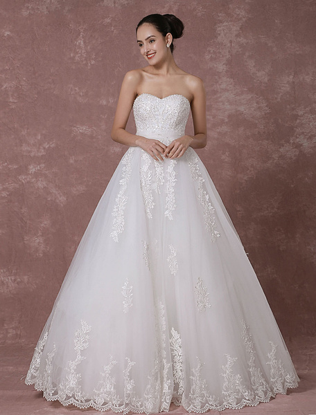 Milanoo Lace Wedding Dress Sweetheart Strapless Backless Bridal Gown A-line Beading Luxury Bridal Dress