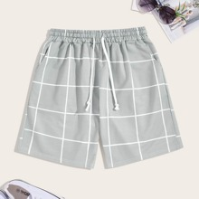 Men Plaid Drawstring Shorts