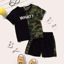 Kleinkind Jungen T-Shirt mit Camo Muster, Farbblock, Buchstaben Grafik & Shorts