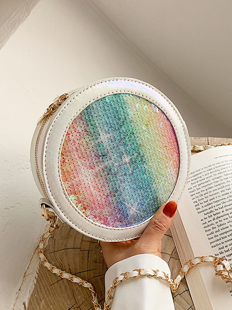 Women Ombre Colorful Sequined Round Crossbody Bag