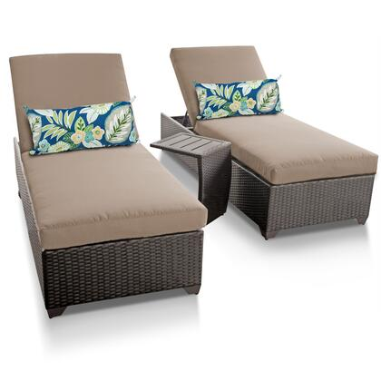 Barbados BARBADOS-2x-ST 3-Piece Patio Set with 2 Chaises and 1 Side Table - 1 Wheat