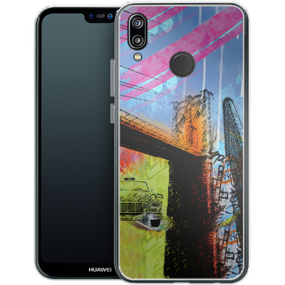 Huawei P20 Lite Silikon Handyhuelle - Pop Brooklyn Bridge von Mark Ashkenazi