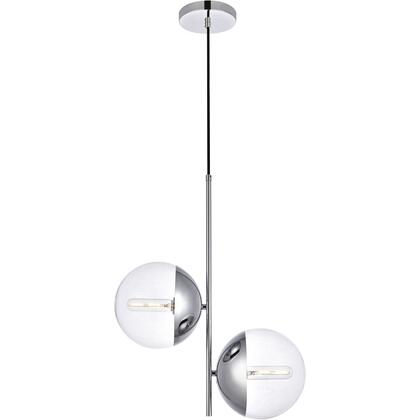 LD6119C Eclipse 2 Light 8 inch Chrome Pendant Ceiling Light With Clear White