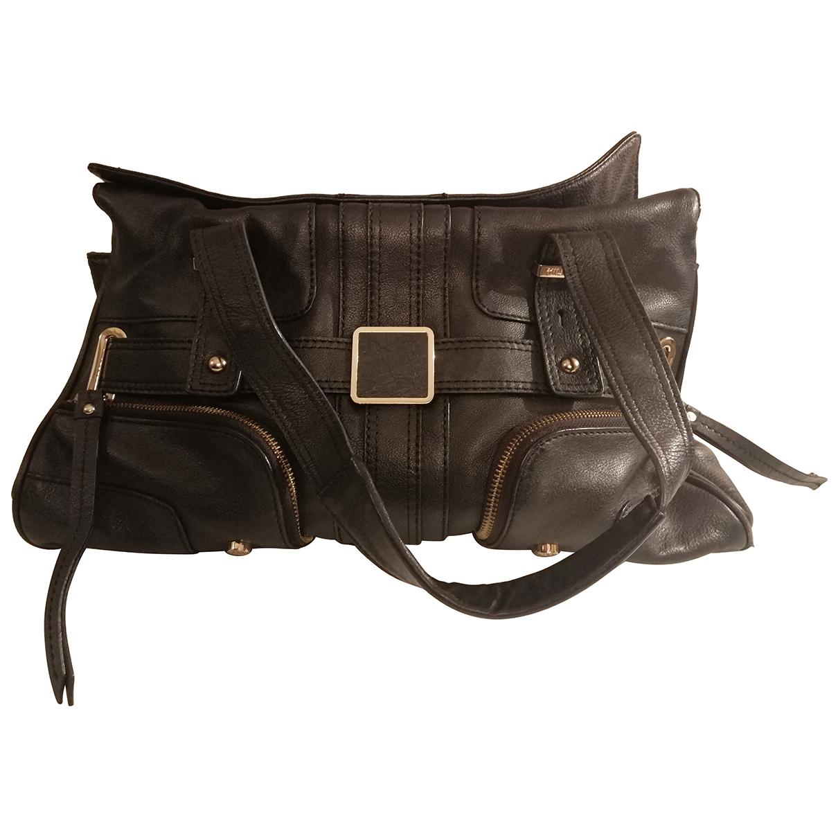 Tommy Hilfiger \N Handtasche in  Schwarz Leder