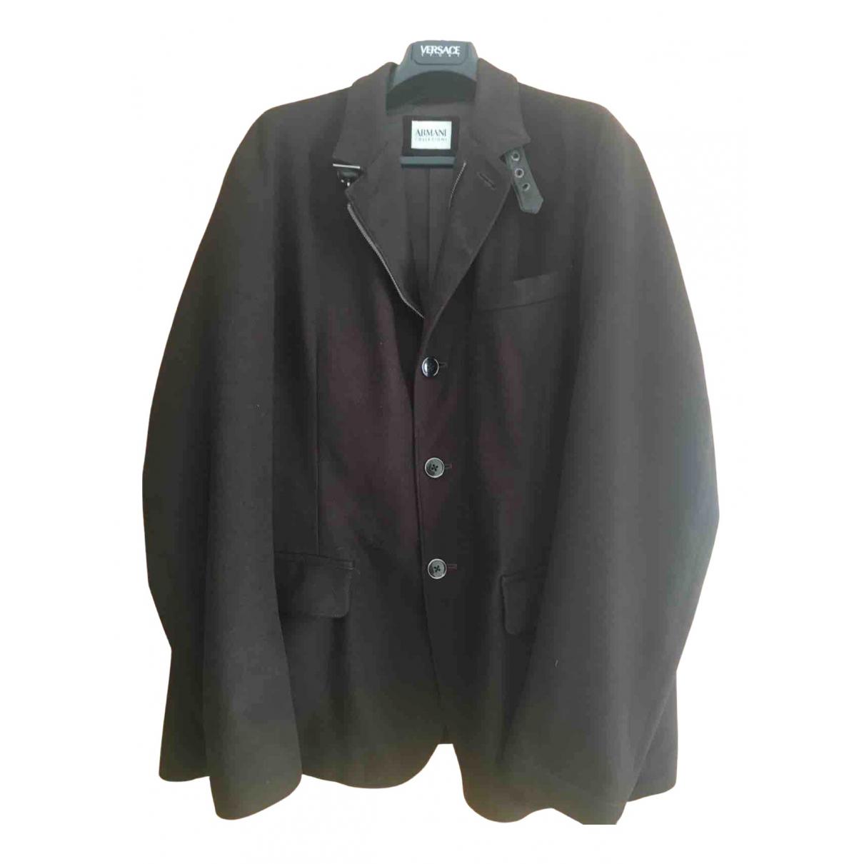 Armani Collezioni - Manteau   pour homme en laine - marron