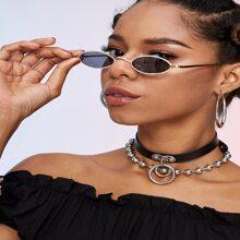 Gafas de sol de marco ovalo con diseño de diamante de imitacion
