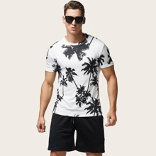 Maenner T-Shirt mit Palme Muster